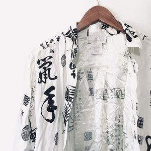 • soft surroundings oriental print button down •